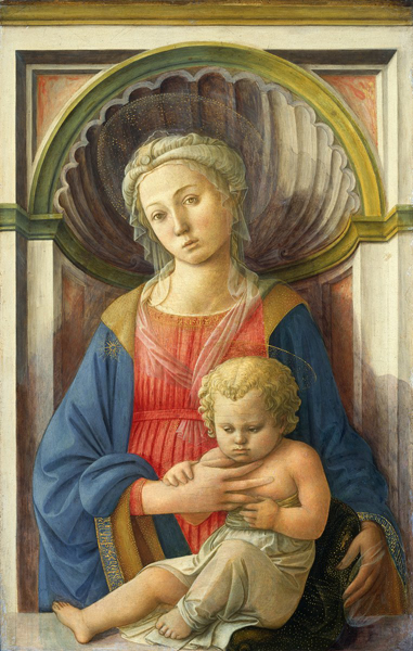 Fra Filippo Lippi<br /><i>Madonna and Child</i>, c. 1440<br />Tempera on panel, 79 x 51.1 cm (31 1/8 x 20 1/8 in.)<br />National Gallery of Art, Washington, DC, Samuel H. Kress Collection<br />Image courtesy of the Board of Trustees, National Gallery of Art