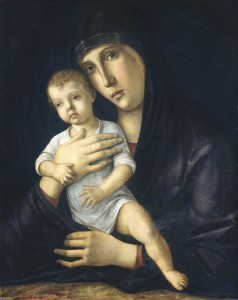Giovanni Bellini<br /><i>Madonna and Child</i>, c. 1480/85<br />Oil on panel, 53.7 x 42.5 cm (21 1/8 x 16 3/4 in.)<br />National Gallery of Art, Washington, DC, Samuel H. Kress Collection<br />Image courtesy of the Board of Trustees, National Gallery of Art