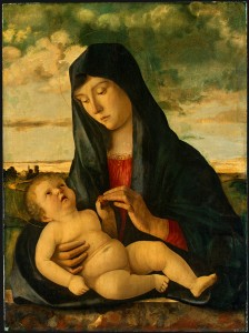Giovanni Bellini<br /><i>Madonna and Child in a Landscape</i>, c. 1480/85<br />Oil on panel, 71.7 x 52.8 cm (28 1/4 x 20 13/16 in.)<br />National Gallery of Art, Washington, DC, Ralph and Mary Booth Collection<br />Image courtesy of the Board of Trustees, National Gallery of Art