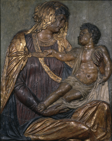 Jacopo Sansovino Madonna and Child, c. 1550 Painted and gilded papier-mâché and stucco, 119.4 x 95.6 cm (47 x 37 5/8 in.) National Gallery of Art, Washington, DC, Samuel H. Kress Collection Image courtesy of the Board of Trustees, National Gallery of Art