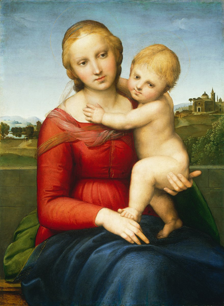 Raphael<br /><i>The Small Cowper Madonna</i>, c. 1505<br />Oil on panel, 59.5 x 44 cm (23 7/16 x 17 5/16 in.)<br />National Gallery of Art, Washington, DC, Widener Collection<br />Image courtesy of the Board of Trustees, National Gallery of Art
