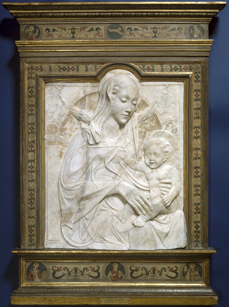 Style of Agostino di Duccio<br /><i>Madonna and Child</i>, 1460s or later<br />Marble, 72 x 57.3 cm (28 3/8 x 22 9/16 in.)<br />National Gallery of Art, Washington, DC, Andrew W. Mellon Collection<br />Image courtesy of the Board of Trustees, National Gallery of Art