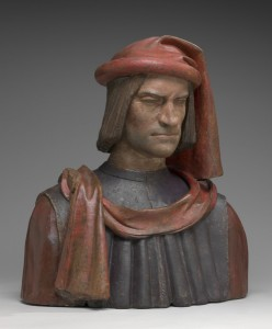 Florentine 15th or 16th century, probably after a model by Andrea del Verrocchio and Orsino Benintendi<br /><i>Lorenzo de' Medici</i>, 1478/1521<br />Painted terra-cotta, 65.8 x 59.1 x 32.7 cm (25 7/8 x 23 1/4 x 12 7/8 in.)<br />National Gallery of Art, Washington, DC, Samuel H. Kress Collection<br />Image courtesy of the Board of Trustees, National Gallery of Art