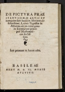 Title page from Leon Battista Alberti, <i>De Pictura (On Painting)</i><br />Published Basel, 1540<br />Library, National Gallery of Art, Washington, DC, David K. E. Bruce Fund<br />Image courtesy of the Board of Trustees, National Gallery of Art