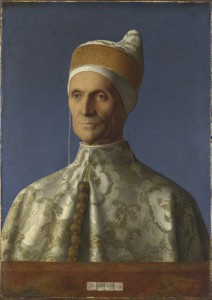 Giovanni Bellini<br /><i>The Doge Leonardo Loredan</i>, 1501–4<br />Oil on poplar, 61.6 x 45.1 cm (24.3 x 17.8 in.)<br />The National Gallery, London<br />© National Gallery, London/Art Resource, NY