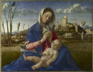 Giovanni Bellini<br /><i>Madonna of the Meadow</i>, c. 1500<br />Oil and tempera on synthetic panel, transferred from wood, 67.3 x 86.4 cm (26 1/2 x 34 in.)<br />The National Gallery, London<br />© National Gallery, London/Art Resource, NY