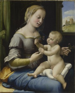 Raphael<br /><i>The Madonna of the Pinks (La Madonna dei Garofani)</i>, c. 1506–7<br />Oil on panel, 22.9 x 27.4 cm (9 x 10 13/16 in.)<br />The National Gallery, London<br />© National Gallery, London/Art Resource, NY