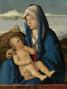 Giovanni Bellini<br /><i>Madonna and Child</i>, c. 1485<br />Oil on canvas, transferred from wood panel, 72.55 x 55.4 cm (28 9/16 x 21 13/16 in.)<br />The Nelson-Atkins Museum of Art, Kansas City, Gift of the Samuel H. Kress Foundation