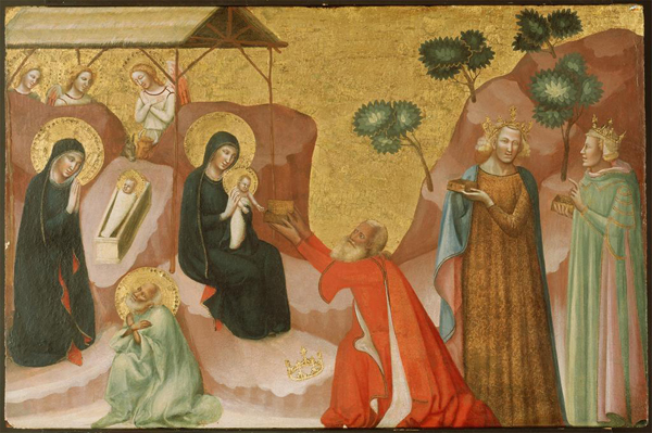 Jacopino di Francesco<br /><i>The Nativity and the Adoration of the Magi</i>, c. 1325–30<br />Tempera and gold leaf on panel, 52.7 x 80.3 cm (20 3/4 x 31 5/8 in.)<br />North Carolina Museum of Art, Raleigh, Gift of the Samuel H. Kress Collection