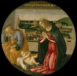 Sandro Botticelli<br /><i>The Adoration of the Child</i>, c. 1500<br />Tempera on panel, diameter 19 1/2 cm (49 1/2 in.)<br />North Carolina Museum of Art, Raleigh, Gift of the Samuel H. Kress Foundation