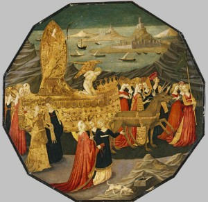 Workshop of Apollonio di Giovanni<br /><i>Triumph of Chastity</i> [obverse], c. 1450–60<br />Tempera and gold leaf on panel, 58.4 x 59.1 cm (23 x 23 1/4 in.)<br />North Carolina Museum of Art, Raleigh, Gift of the Samuel H. Kress Foundation