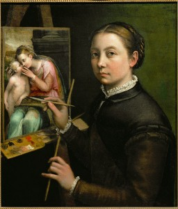 Sofonisba Anguissola<br /><i>Self-portrait, Painting the Madonna</i>, 1556<br />Oil on canvas, 66 x 57 cm (26 x 22 2/5 in.)<br />Muzeum Zamek w Lancucie, Lancut, Poland<br />Erich Lessing/Art Resource, NY