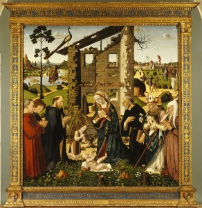 Biagio d'Antonio<br /><i>The Adoration of the Child with Saints and Donors</i>, 1476<br />Oil on linden wood panel, 185.4 x 181 cm (73 x 71 1/4 in.)<br />Philbrook Musem of Art, Tulsa, Gift of the Samuel H. Kress Foundation