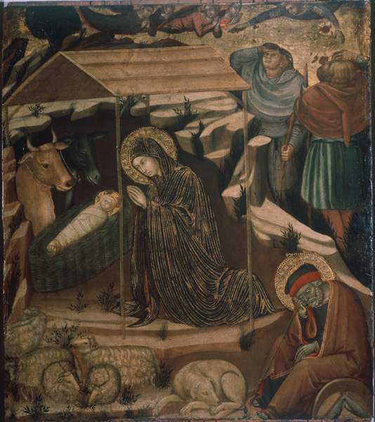 Barnaba da Modena<br /><i>Adoration of the Child</i>, c. 1380<br />Oil on wood panel<br />Pinacoteca di Brera, Milan<br />SuperStock