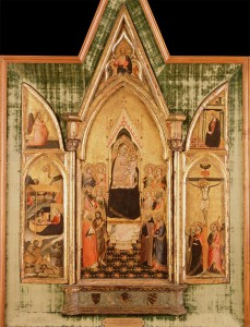 Follower of Bernardo Daddi<br /><i>The Aldobrandini Triptych</i>, c. 1336<br />Tempera on wood, 95.5 x 66 cm (37 1/2 x 26 in.)<br />Portland Art Museum, Gift of the Samuel H. Kress Collection