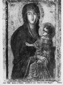 <i>Madonna and Child (Salus populi romani)</i><br />Tempera on panel, 117 x 79 cm (46 1/10 x 31 1/10 in.)<br />S. Maria Maggiore, Rome<br />Alinari/Art Resource, NY