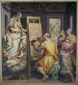 Giorgio Vasari<br /><i>Saint Luke Painting a Portrait of the Madonna (Self-portrait)</i>, after 1565<br />Fresco<br />Santissima Annunziata, Florence, Italy<br />Scala/Art Resource, NY