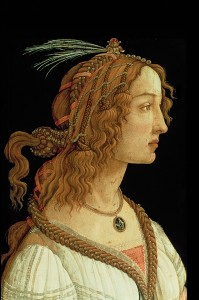 Sandro Botticelli Young Woman (Simonetta Vespucci?) in Mythological Guise, c. 1480 Tempera on panel, 81.5 x 54.2 cm (32 1/16 x 21 5/16 in.) Städelsches Kunstinstitut, Frankfurt am Main The Bridgeman Art Library