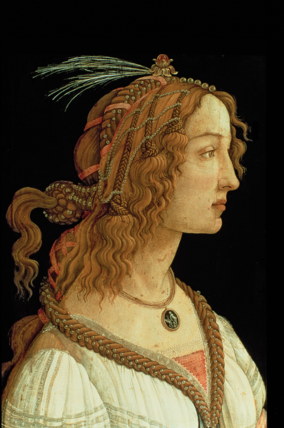 Sandro Botticelli<br /><i>Young Woman (Simonetta Vespucci?) in Mythological Guise</i>, c. 1480<br />Tempera on panel, 81.5 x 54.2 cm (32 1/16 x 21 5/16 in.)<br />Städelsches Kunstinstitut, Frankfurt am Main<br />The Bridgeman Art Library