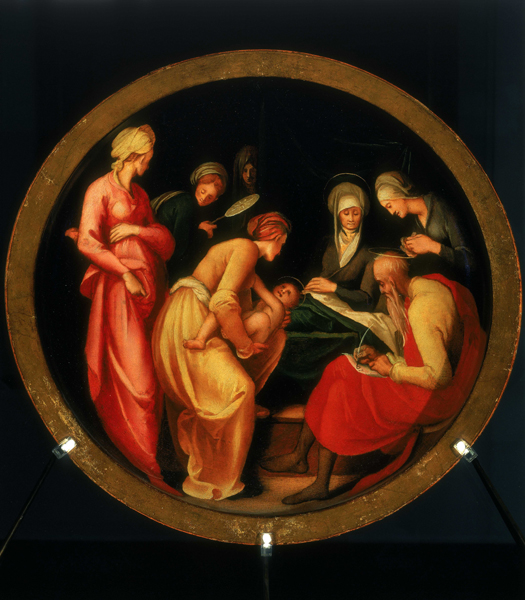 Jacopo da Pontormo<br /><i>Childbirth bowl (tafferia da parto) with The Naming of John the Baptist</i> [interior] and <i>Della Casa and Tornaquinci Arms</i> [exterior], 1526–7<br />Oil on wood, diameter 54 cm (21 1/4 in.)<br />Galleria degli Uffizi, Florence<br />Alinari/Art Resource, NY
