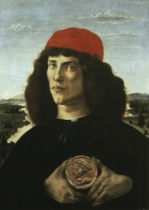 Sandro Botticelli Unknown Man, possibly the artist or his brother, with medal of Cosimo the Elder (1389–1464), 1474–5 Tempera on panel, 57.5 x 44 cm (22 3/5 x 17 3/10 in.) Uffizi, Florence  Alfredo Dagli Orti/The Art Archive at Art Resource, NY