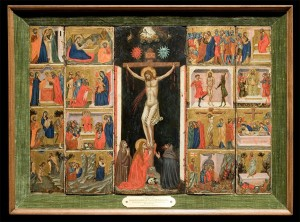 Follower of Pacino de Buonaguida<br /><i>Ciborium illustrating Twelve Scenes from the Life of Christ</i>, c. 1325<br />Tempera and gold on wood panel, 44.5 x 63.5 cm (17 1/2 x 25 in.)<br />University of Arizona Museum of Art, Samuel H. Kress Collection