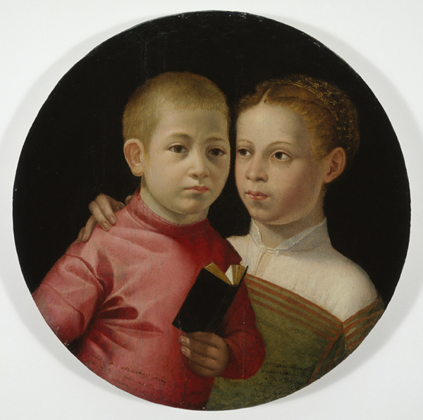 Sofonisba Anguissola<br /><i>Double Portrait of a Boy and Girl of the Attavanti Family</i>, early 1580s<br />Oil on softwood panel, diameter 40 cm (15 3/4 in.)<br />Allen Memorial Art Museum, Oberlin, Kress Collection