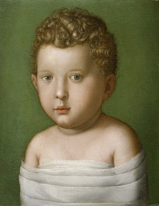 Attributed to Agnolo Bronzino<br /><i>Portrait of a Baby</i>, 1540–49<br />Oil on panel, 33.5 x 26 cm (13 1/4 x 10 1/4 in.)<br />The Walters Art Museum, Baltimore