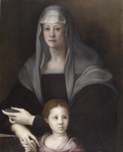 Jacopo da Pontormo<br /><i>Maria Salviati and Guilia de' Medici</i>, c. 1538<br />Oil on panel, 88 x 71.3 cm (34 5/8 x 28 1/16 in.)<br />The Walters Art Museum, Baltimore