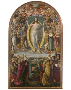 Benvenuto di Giovanni<br />Altarpiece for monastery of Sant'Eugenio, <i>Ascension of Christ</i> [main panel], 1491<br />Tempera on wood<br />Pinacoteca Nazionale, Siena