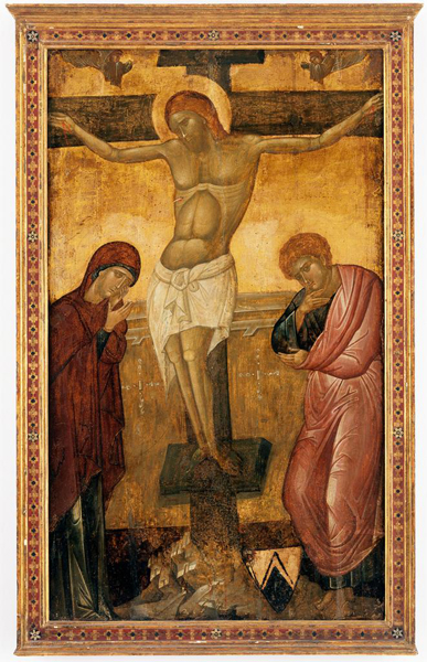 Italo-Byzantine, 14th–15th century<br /><i>Crucifixion</i><br />Tempera on panel, 139.1 x 12.8 cm (54 3/4 x 32 5/8 in.)<br />Pomona College Museum of Art, Samuel H. Kress Collection