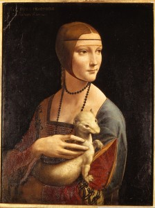 Leonardo da Vinci<br /><i>Lady with an Ermine (Portrait of Cecilia Gallerani)</i>, c. 1490<br />Oil on panel, 54.8 x 40.3 cm (21 5/8 x 15 7/8 in.)<br />Muzeum Czartoryskich, Krakow<br />Scala/Art Resource, NY