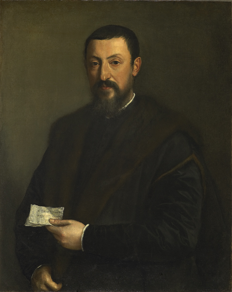Titian<br /><i>Portrait of a Friend of Titian (Portrait of a Gentleman)</i>, c. 1550<br />Oil on canvas, 90.2 x 72.4 cm (35 1/2 x 28 1/2 in.)<br />Fine Arts Museums of San Francisco, Gift of the Samuel H. Kress Foundation