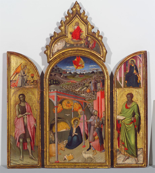 Master of the Osservanza The Adoration of the Shepherds with St John the Baptist and St Bartholomew, c. 1440 Tempera and gold on wood, 62.6 x 50.3 cm (24 5/8 x 19 13/16 in.) El Paso Museum of Art, Samuel H. Kress Collection
