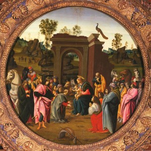Bartolomeo di Giovanni<br /><i>The Adoration of the Magi</i>, c. 1490<br />Oil on panel, diameter 95.3 cm (37 1/2 in.)<br />Fine Arts Museums of San Francisco, Gift of the Samuel H. Kress Collection