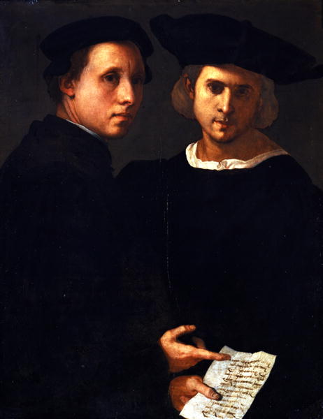 "Jacopo da Pontormo<br /><i>Two Men with a Passage from Cicero's ""On Friendship</i>,"" c. 1524<br />Oil on panel, 88.2 x 68 cm (34 3/4 x 26 3/4 in.)<br />Fondazione Giorgio Cini/Galleria di Palazzo Cini, Venice"