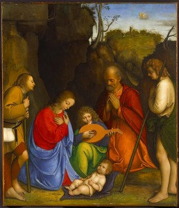 Giovanni Agostino da Lodi<br /><i>Adoration of the Shepherds</i>, c. 1505<br />Oil on panel, 100.3 x 86.4 cm (39 1/2 x 34 in.)<br />Allentown Art Museum, Samuel H. Kress Collection