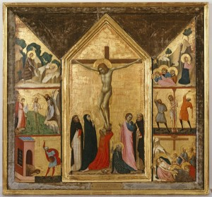 Attributed to Lippo di Benivieni<br /><i>The Crucifixion with Scenes from the Passion and the Life of St John the Baptist</i>, c. 1315–20<br />Tempera on wood panel, dimensions by panel: 63.5 x 17.5; 63.5 x 34.3; 61 x 16.5 cm (25 x 6 7/8; 25 x 13 1/2; 24 x 6 1/2 in.)<br />Memphis Brooks Museum of Art, Gift of the Samuel H. Kress Collection
