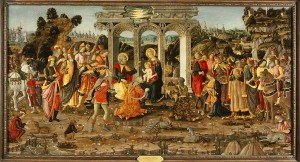 Jacopo del Sellaio<br /><i>The Adoration of the Magi</i>, c. 1480–90<br />Tempera on wood panel, 89.2 x 170.8 cm (35 1/8 x 67 1/4 in.)<br />Memphis Brooks Museum of Art, Gift of the Samuel H. Kress Collection