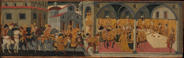 Marco del Buono Giamberti and Apollonio di Giovanni di Tomaso<br /><i>The Story of Esther</i>, 1460–70<br />Tempera and gold on wood, 44.5 x 140.7 cm (17 1/2 x 55 3/8 in.)<br />The Metropolitan Museum of Art, New York<br />Image © The Metropolitan Museum of Art, New York, NY