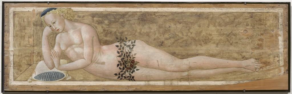 Giovanni di Ser Giovanni Guidi (Lo Scheggia)<br />Interior cassone panel: <i>Reclining young man</i>, c. 1450<br />Musée du Petit Palais, Avignon<br />Réunion des Musées Nationaux/Art Resource, NY