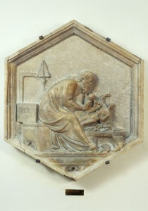 Attributed to Andrea Pisano, Allegory of Sculpture, c. 1343–8, Hexagonal marble relief from Campanile of the Cathedral, Florence Museo dell'Opera del Duomo, Florence, Scala/Art Resource, NY
