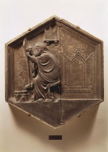 Attributed to Andrea Pisano<br /><i>Painter at work</i>, c. 1343–8<br />Hexagonal marble relief from the Campanile of the Cathedral, Florence<br />Museo dell'Opera del Duomo, Florence<br />Scala/Art Resource, NY