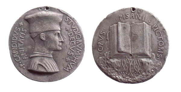 Pisanello<br /><i>Medal of Pier Candido Decembrio</i>, 1448<br />Bust of Pier Candido Decembrio, right, wearing mortier and robe [obverse]<br />On a rocky mount, an open book, with ties and markers [reverse]<br />Lead, diameter 8.1 cm<br />British Museum, London<br />© Trustees of the British Museum