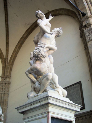 Giambologna<br /><i>Rape of the Sabine Women</i>, 1582<br />Marble<br />Loggia dei Lanzi, Florence<br />Photo by Son of Groucho (Flickr), via Wikimedia Commons