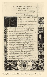 Page from Virgil, <i>Opera</i><br />Printed by Aldus Manutius, Venice, April 1501<br />Printed typeset<br />Bibliothèque nationale de France, Paris, Rés. p. Yc. 1265<br />The Art Archive at Art Resource, NY
