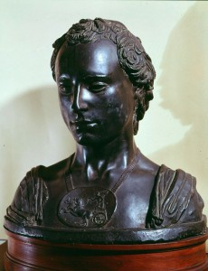 Attributed to Donatello<br /><i>Bust of a Young Man with a Medallion (Bust of a Gentleman)</i>, c. 1450–55<br />Bronze<br />Museo Nazionale di Bargello, Florence<br />Gianni Dagli Orti/The Art Archive at Art Resource, NY