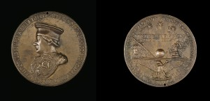 Clemente da Urbino   Federigo da Montefeltro, (1422–82), Count of Urbino (1444), and Duke (1474) [obverse]; Eagle with Spread Wings Supporting Devices [reverse], 1468 Bronze, diameter 9.4 cm (3 11/16 in.) National Gallery of Art, Washington, DC, Samuel H. Kress Collection Image courtesy of the Board of Trustees, National Gallery of Art