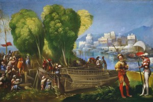 Dosso Dossi Aeneas and Achates on the Libyan Coast, c. 1520 Oil on canvas, 58.7 x 87.6 cm (23 1/8 x 34 1/2 in.)