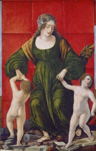 Ercole de' Roberti   The Wife of Hasdrubal and Her Children, c. 1490/93 Tempera on panel, 47.3 x 30.6 cm (18 5/8 x 12 1/16 in.) National Gallery of Art, Washington, DC, Ailsa Mellon Bruce Fund  Image courtesy of the Board of Trustees, National Gallery of Art
